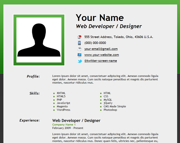 how to design a cv in html