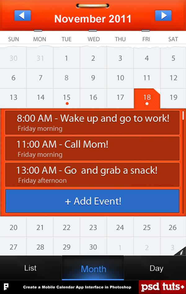 Create a Mobile Calendar App in Photoshop - create a picture calender