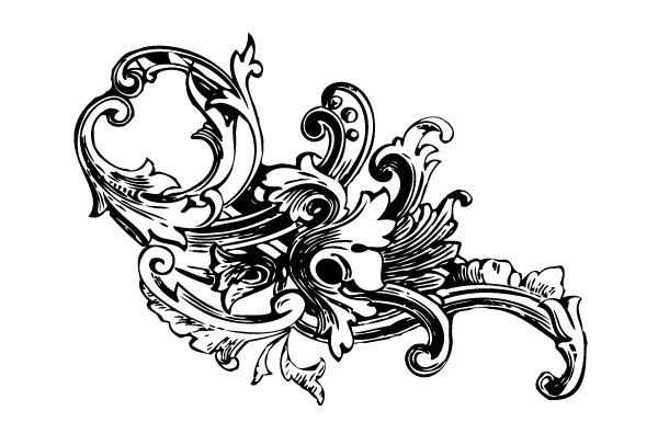 250+ Free Vintage Graphics Flourish Vector Ornaments - baroque scroll designs