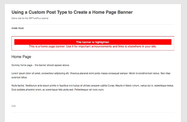 Using a Custom Post Type to Create a Home Page Banner