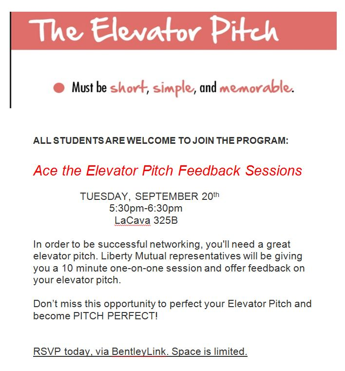 Elevator Pitch one-on-one sessions with Liberty Mutual
