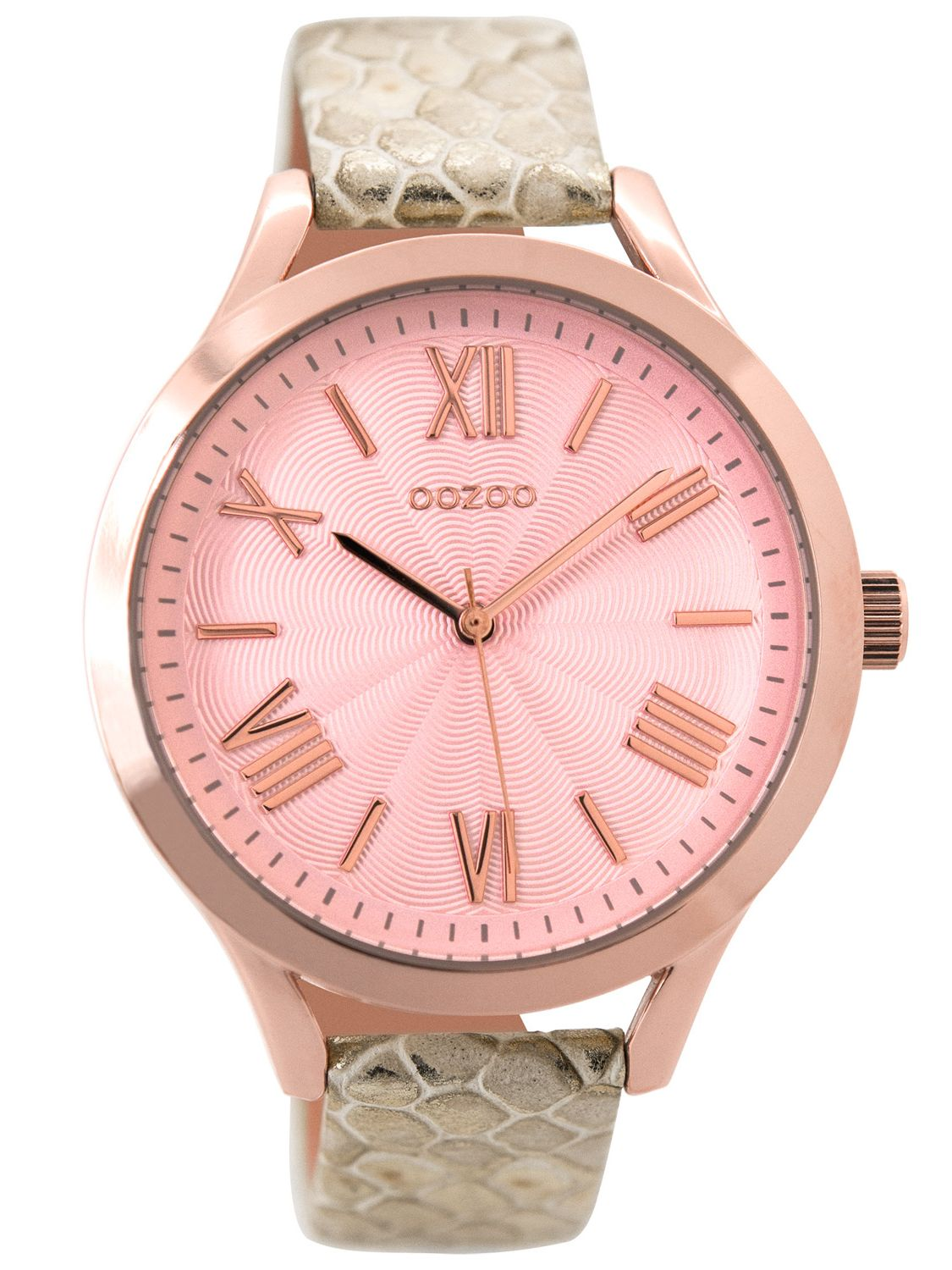 Leather Strap Rose Gold Watch Oozoo C9478 Ladies Watch With Leather Strap Pinkgold Snake 42 Mm