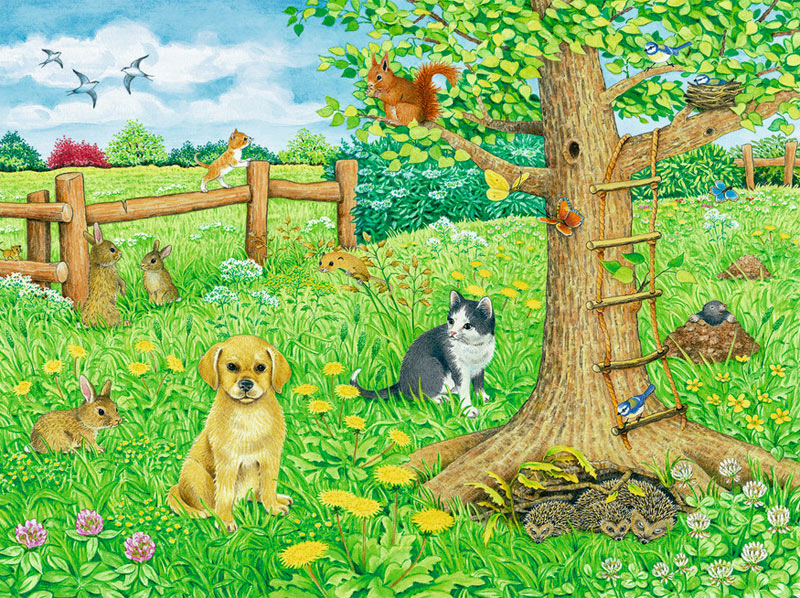 Animals On The Spring Meadow Jigsaw Puzzle