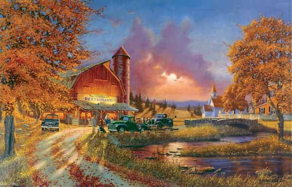 Late Fall Iphone Wallpaper Dinner At The Barn Jigsaw Puzzle Puzzlewarehouse Com