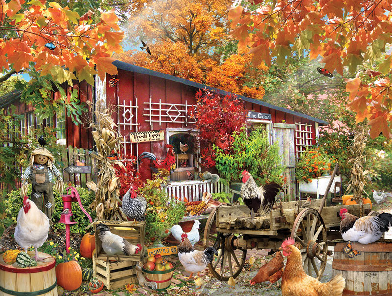 Fall Harvest Computer Wallpaper Barnyard Chickens Jigsaw Puzzle Puzzlewarehouse Com