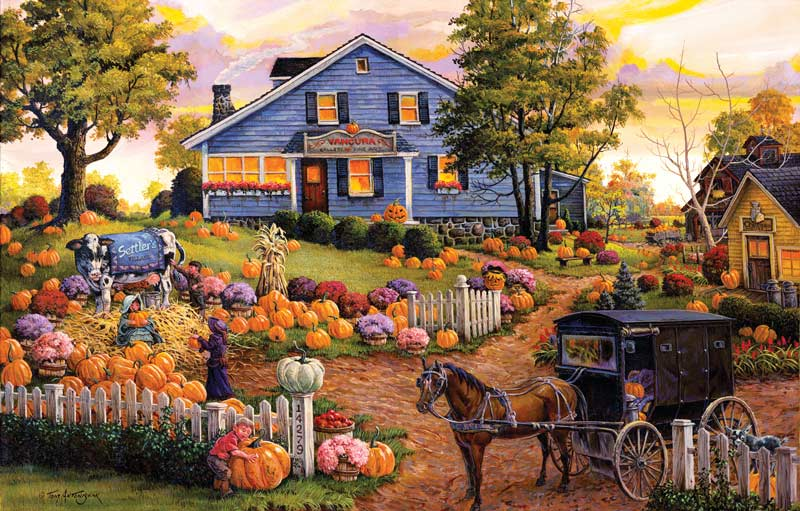 Upstate New York Fall Hd Wallpaper The Cow And The Pumpkin Farm Jigsaw Puzzle
