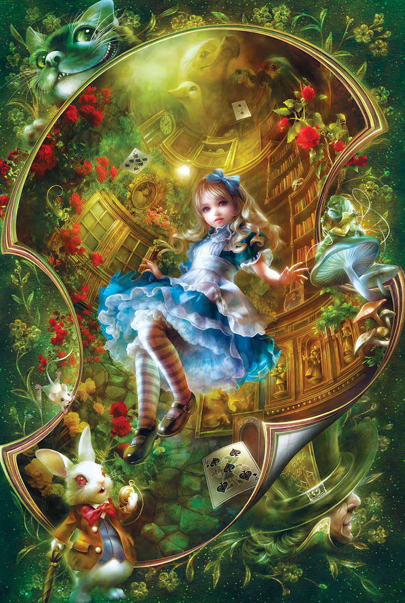 Falling Down The Rabbit Hole Wallpaper Alice In Wonderland Jigsaw Puzzle Puzzlewarehouse Com