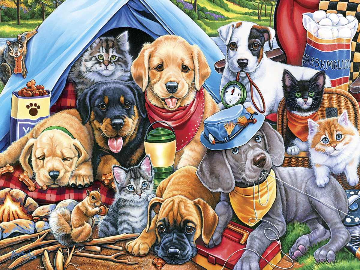 Cute Wallpapers Of Kittens And Puppies Camping Buddies Jigsaw Puzzle Puzzlewarehouse Com