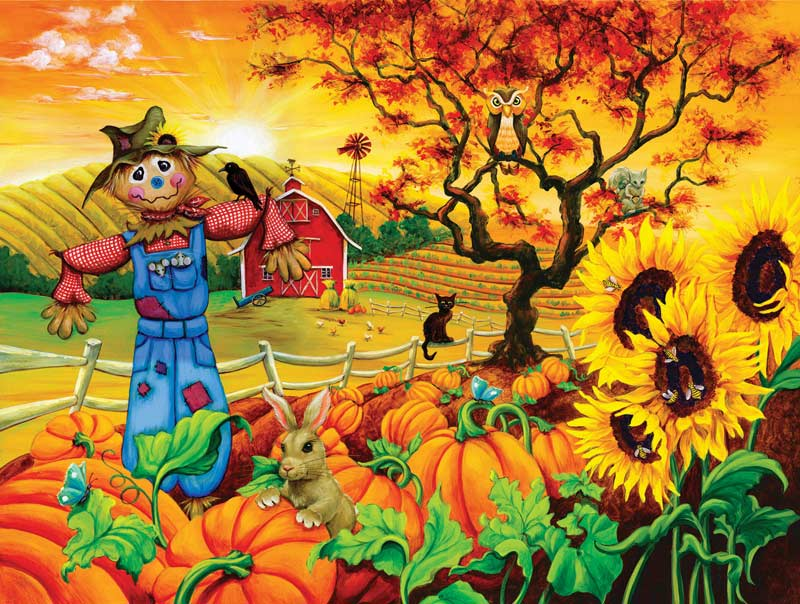 New England Fall Themed Wallpaper Scarecrow And Friends Jigsaw Puzzle Puzzlewarehouse Com