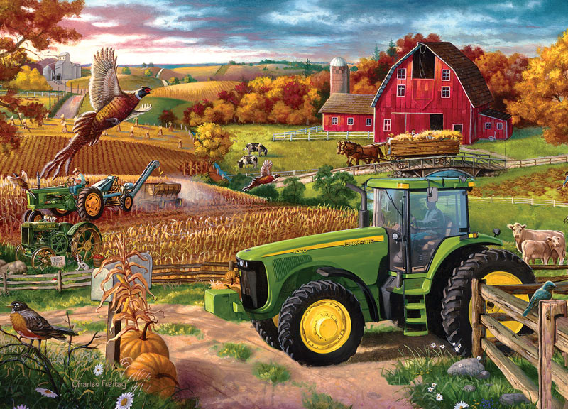 Fall Deer And Farm Scene Wallpaper Border 100 Years Of Deere Jigsaw Puzzle Puzzlewarehouse Com