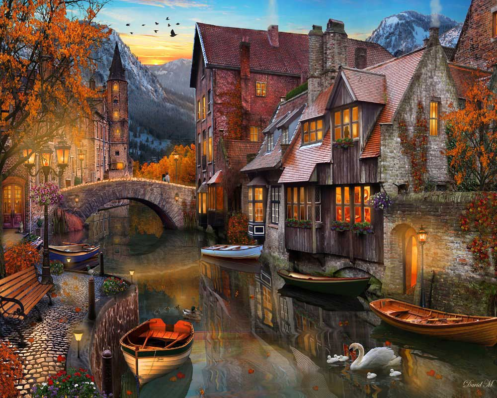 Fall Brithday Wallpaper Autumn Canal Jigsaw Puzzle Puzzlewarehouse Com