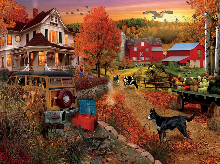 Orange Fall Wallpaper Country Inn And Farm Jigsaw Puzzle Puzzlewarehouse Com
