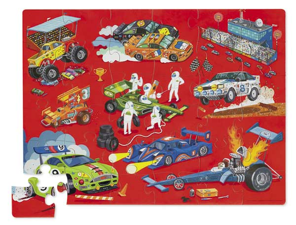 Floor Puzzle With Shaped Box Racing Jigsaw Puzzle