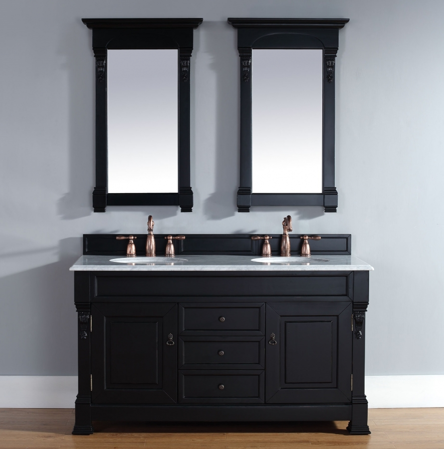 Houzz Bathroom Faucets 60 Inch Double Sink Bathroom Vanity In Antique Black