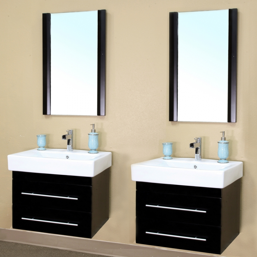 Wall Mount Double Vanity 48 Inch Double Sink Wall Mount Bathroom Vanity In Black Uvbh203102d