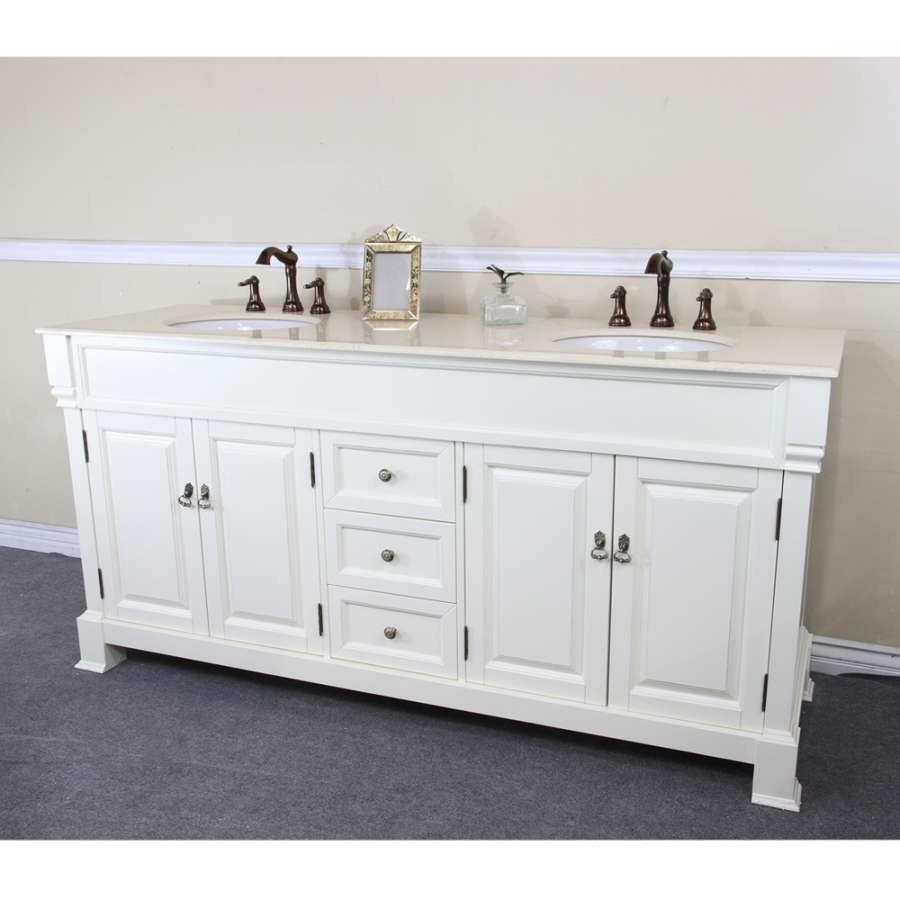 Bathroom Vanity 72 Double Sink 72 Inch Double Sink Bathroom Vanity In Cream White Uvbh205072dcr72