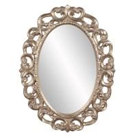 Ansel Oval Silver Leaf Ornate Mirror UVHE43131