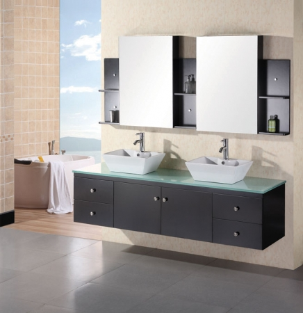 72 inch modern double vessel sink bathroom vanity with