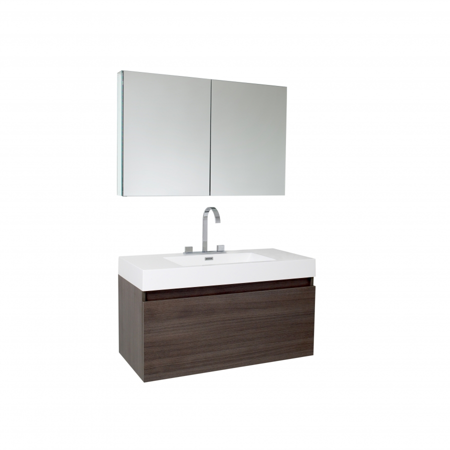 39 Inch Gray Oak Modern Bathroom Vanity with Medicine