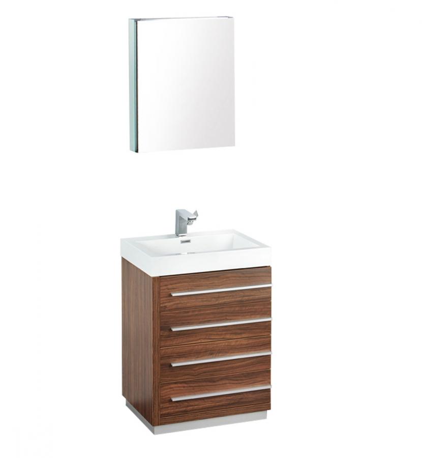 24 Inch Walnut Modern Bathroom Vanity with Medicine