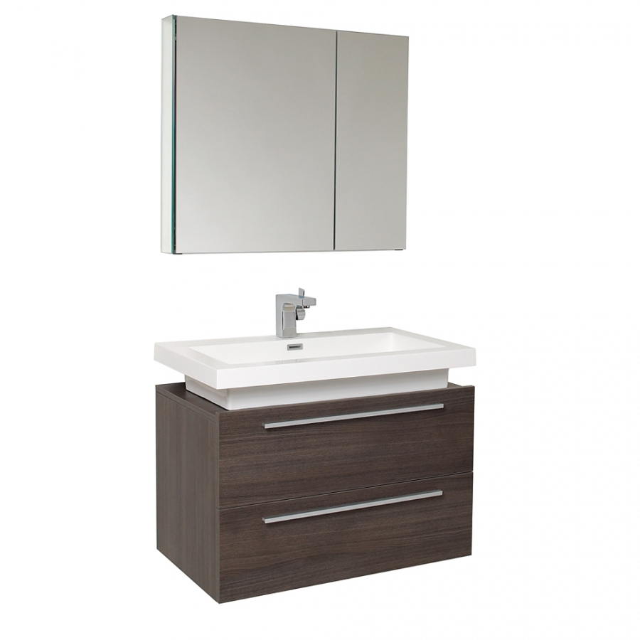 31.25 Inch Gray Oak Modern Bathroom Vanity with Medicine