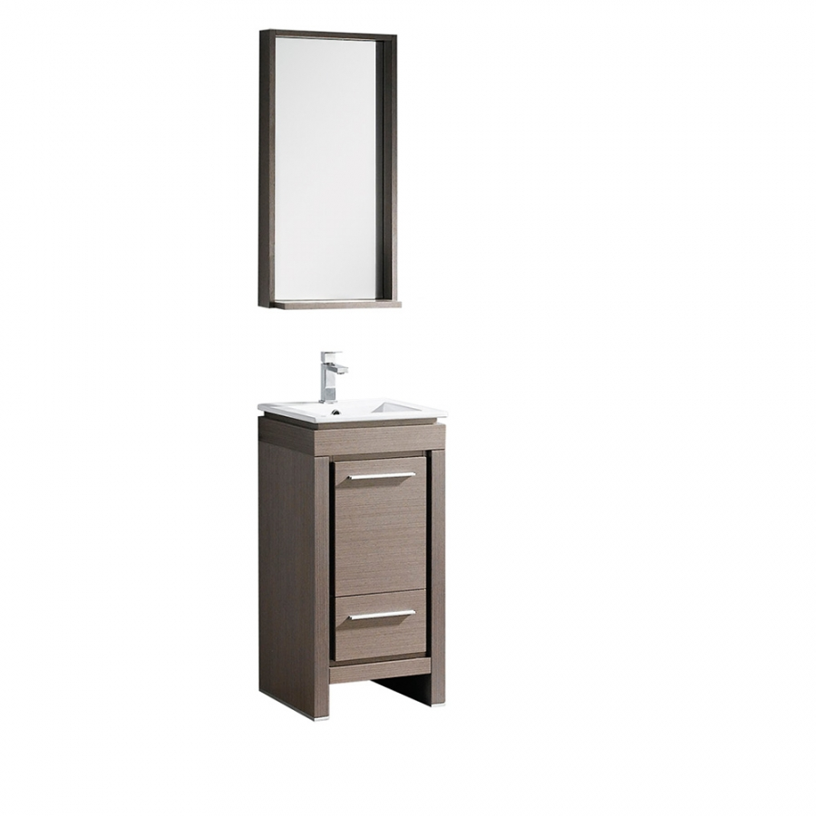 Small Bathroom Vanity With Sink 16 5 Inch Gray Oak Bathroom Vanity With Matching Mirror
