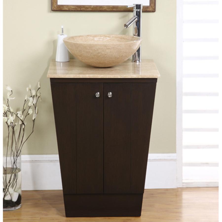 22 inch vessel sink espresso vanity with travertine sink