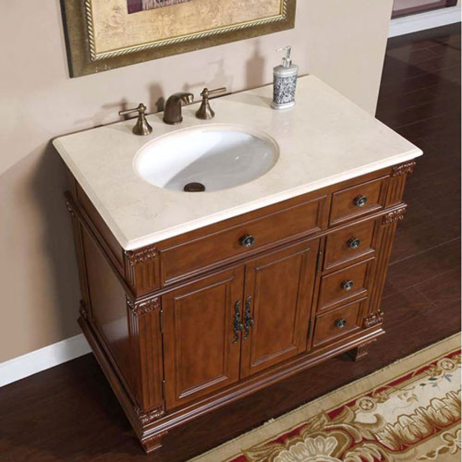 Bathroom Sinks And Vanities 36 Inch Single Sink Bathroom Vanity With Cream Marfil