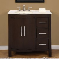 36 Inch Modern Single Bathroom Vanity with Cream Marfil ...