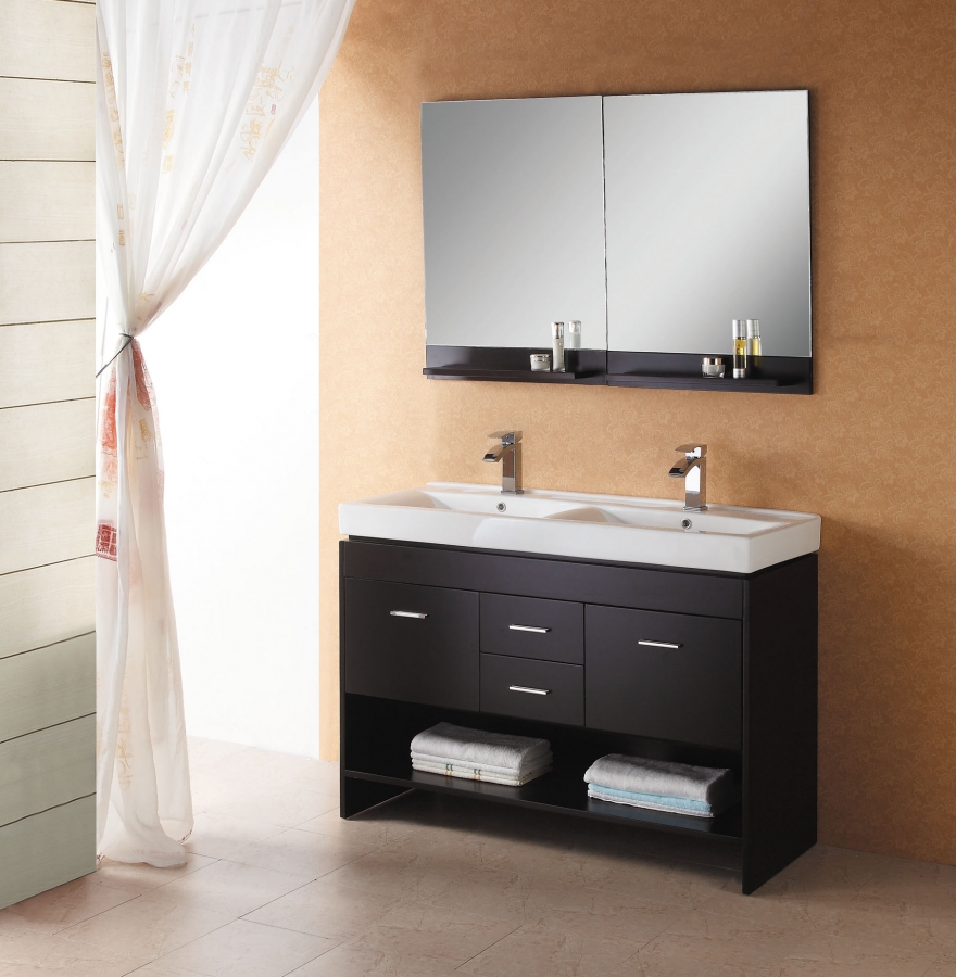 Wall Mount Double Vanity 47 2 Inch Modern Double Sink Wall Mount Bathroom Vanity In Espresso With Open Shelf Uvvu42347