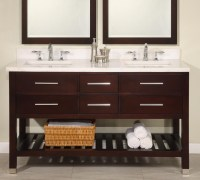 60 Inch Double Sink Modern Cherry Bathroom Vanity with ...