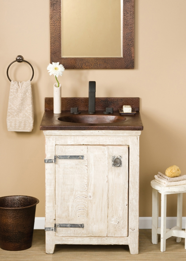 Glass Dome With Base 24 Inch Single Sink Bath Vanity In Whitewash With A Copper