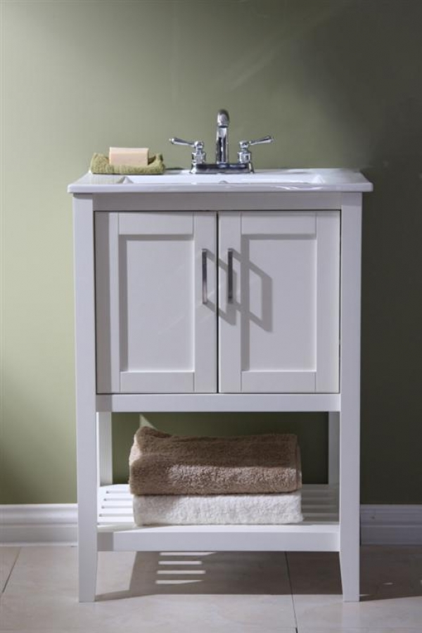Vessel Sinks 24 Inch Narrow Bathroom Vanity Open Shelf In White