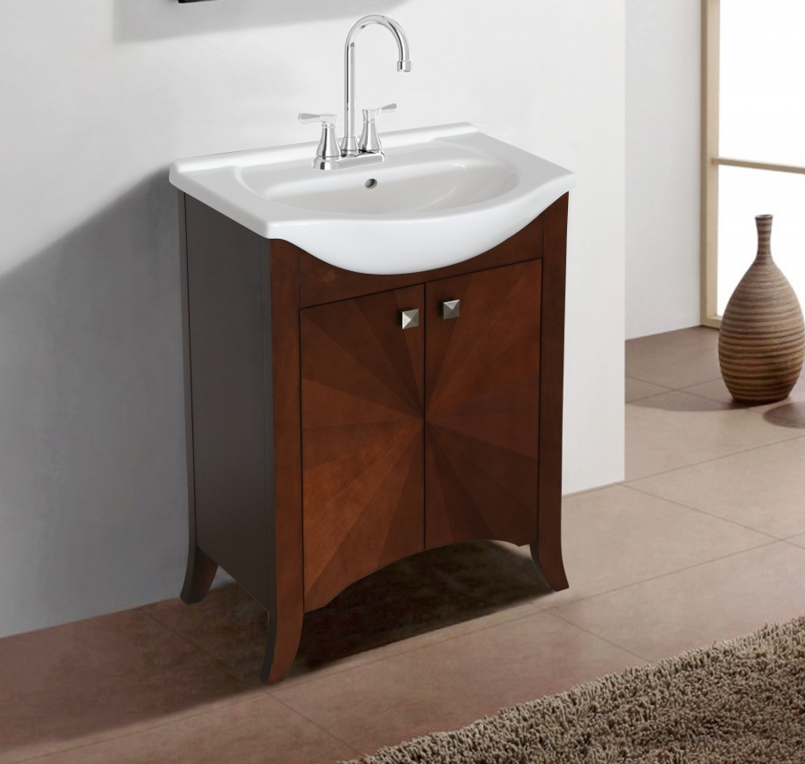 24 Inch Transitional Single Sink Vanity In Royal Walnut