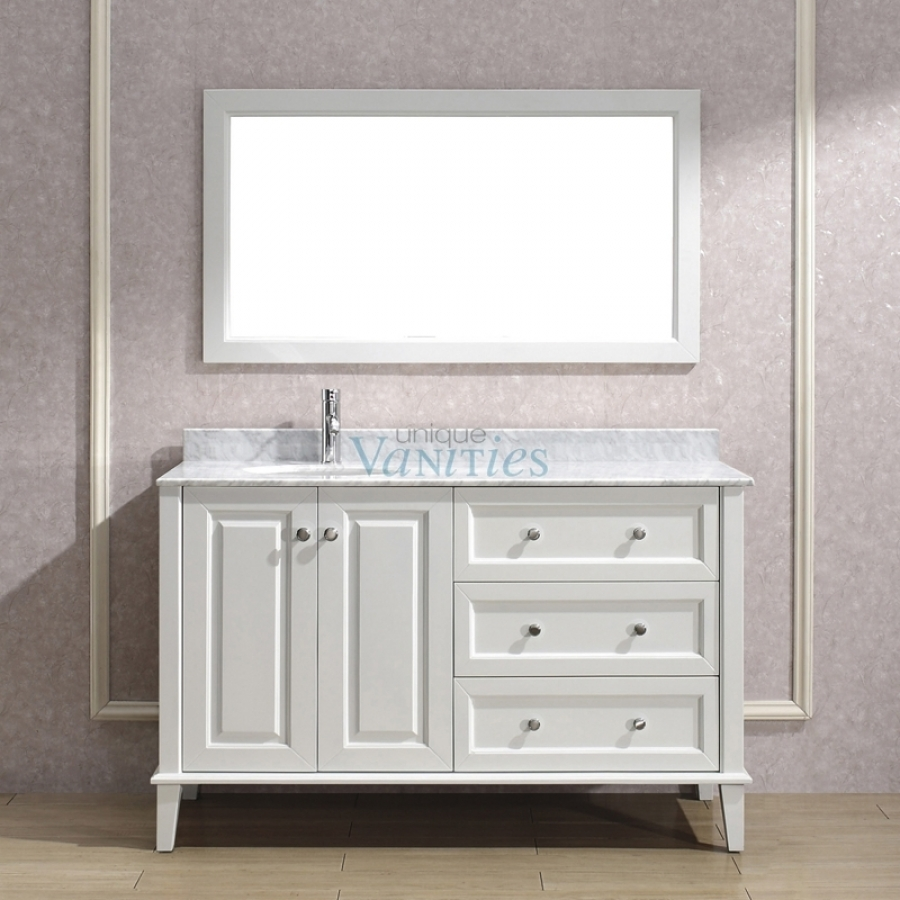 56 Bathroom Vanity 55 Inch Single Bath Vanity With Offset Sink On Left Side