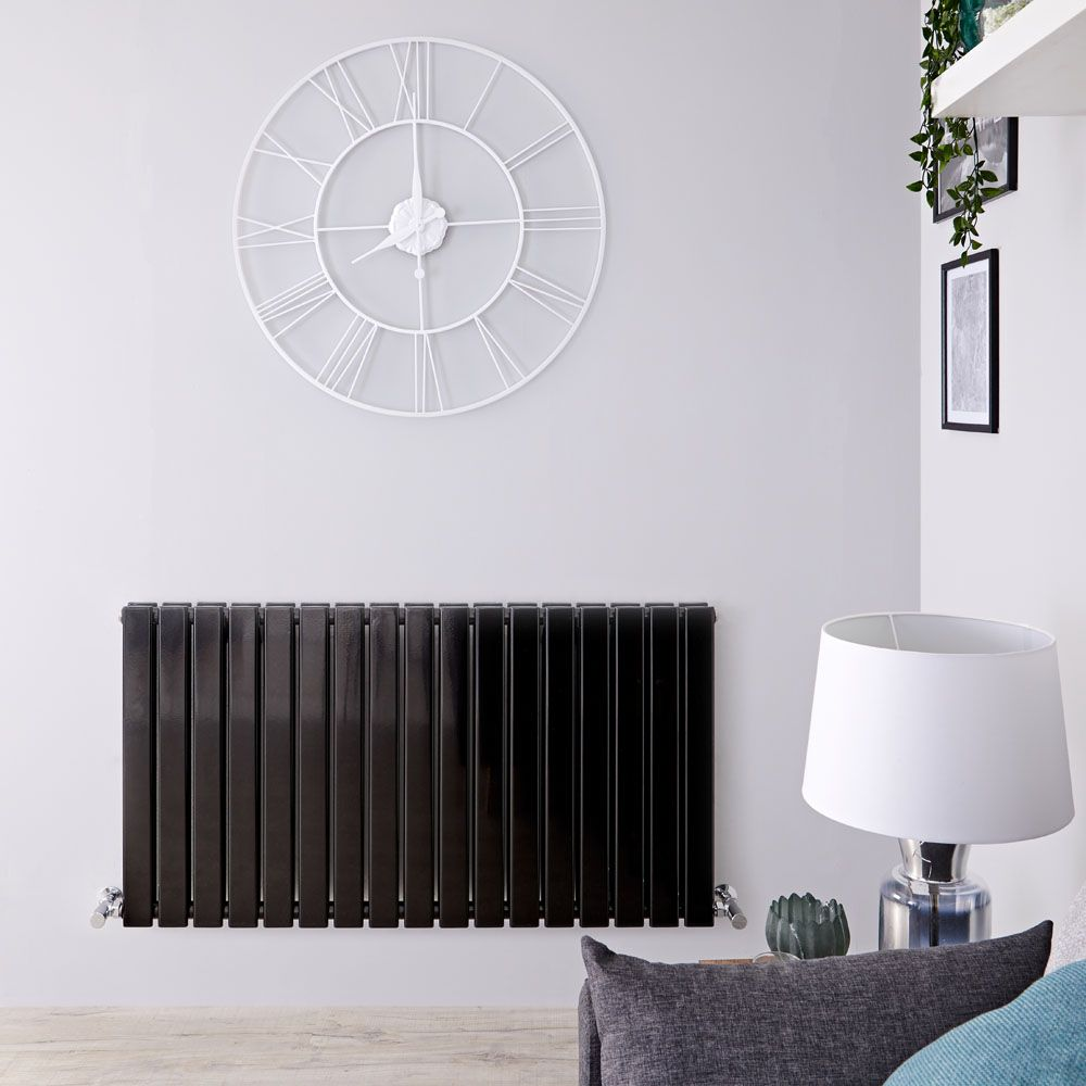 Wattage Radiator Delta Black Horizontal Double Slim Panel Designer Radiator 25