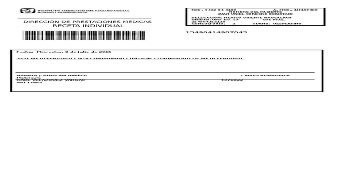Receta IMSS en Blanco by ByceeLandYoshi - DOCX Document