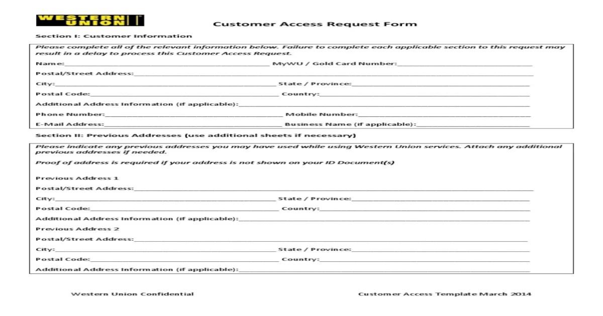 Customer Access Request Form - PDF Document