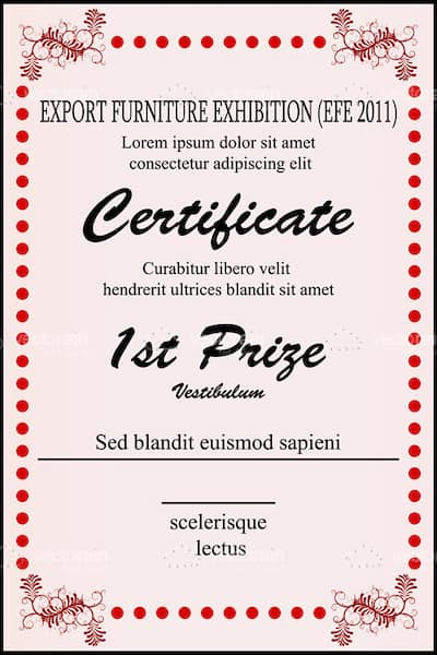 1st Prize Certificate Template with Sample Text - Vectorjunky - Free