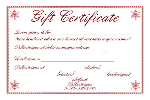 Gift Certificate Template with Sample Text - Vectorjunky - Free