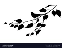 Bird on a branch silhouette Royalty Free Vector Image