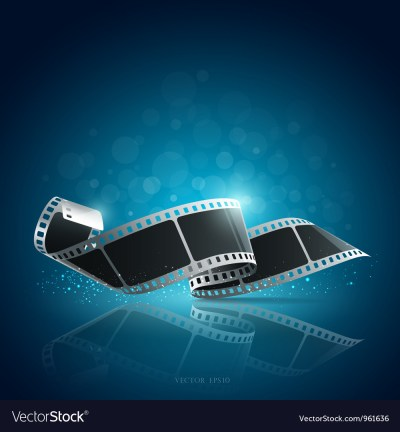 Camera film roll blue background Royalty Free Vector Image
