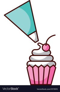 Piping bag frosting a cupcake pastry isolated on a