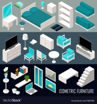 Isometric furniture set Royalty Free Vector Image