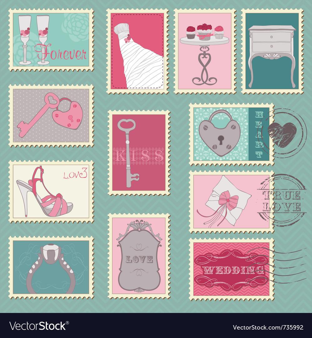 wedding postage stamps vector wedding postage stamps Wedding postage stamps vector image