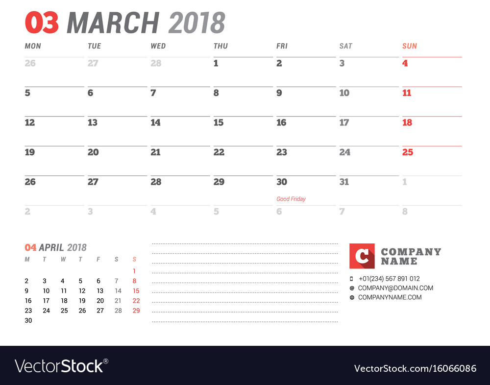 Calendar template for march 2017 business planner Vector Image - march calendar template