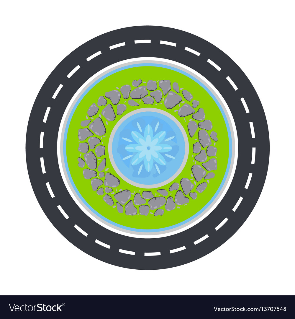 Road Circle And Fountain Inside Top View Vector Image