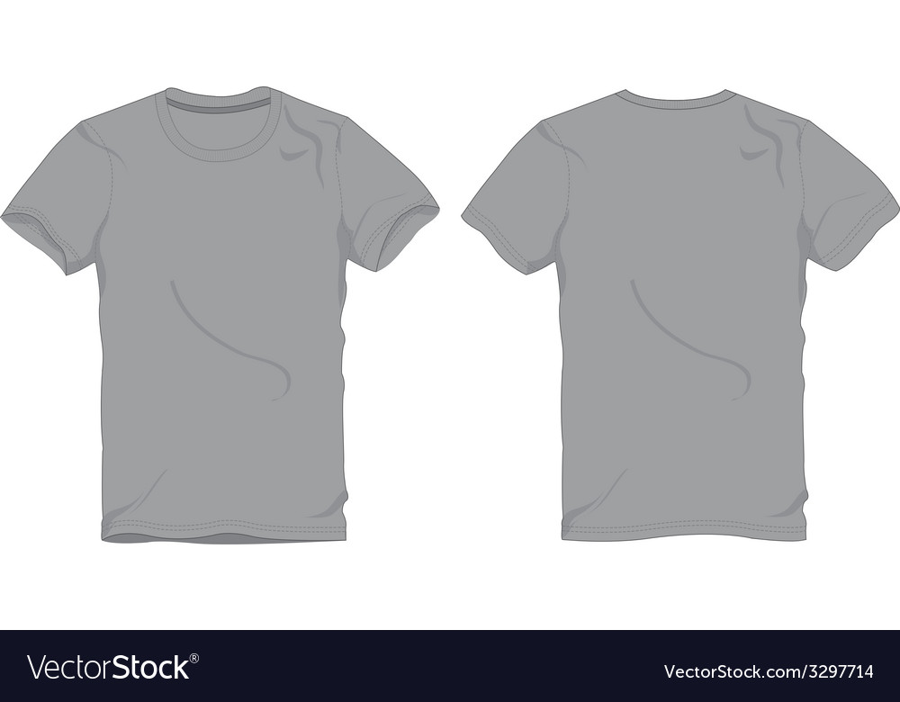 Men Gray Round Neck T-shirt Template Royalty Free Vector - t shirt template