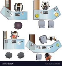 Office furniture top view set 7 Royalty Free Vector Image