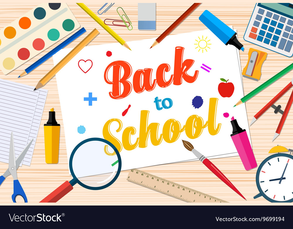 Welcome Back to school template with office Vector Image - welcome back template